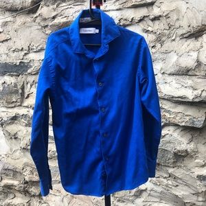Boys Calvin Klein royal blue button up. Size 8
